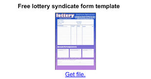Lottery Syndicate Spreadsheet Free Lottery Syndicate Form Template Docs
