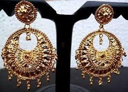 big jhumka gold earrings 22k gold plated 6 cm diameter big indian wedding earrings