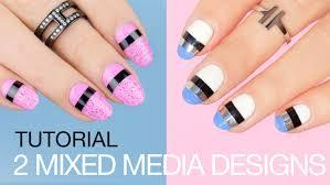 2 mixed media easy nail designs striping tape nail art