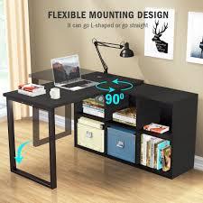Reversible L Shaped Desk L Shaped Desk Tribesigns Modern Corner Computer Desk With 6