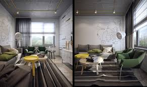 minimalist apartment design with yellow accent color looks so chic