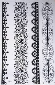 new design temporary tattoo nails black lace pattern painting