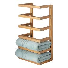 Bathroom Towel Shelves Wall Mounted Teak Hanging Towel Rack Bathroom