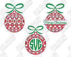 monogram christmas pattern christmas ornament monogram cut file set in svg eps dxf