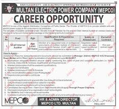 chief internal auditor jobs in multan electric power company 2018