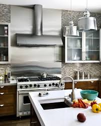 steel backsplash kitchen patina stainless steel kitchen contemporary with island range