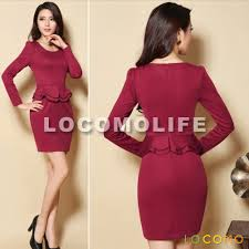 plain color scoop neck long sleeve peplum skirt dress red l