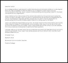 internship recommendation letter recommendation letters livecareer
