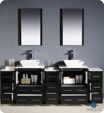 Fresca Torino  Espresso Modern Double Sink Bathroom Vanity W - Bathroom vanity cabinet for vessel sink
