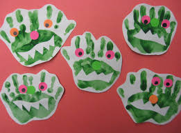 Halloween Monster Hands Metamora Community Preschool My Big Green Monster