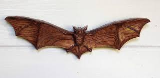 bat sculpture wall bats halloween decor bats wood carving