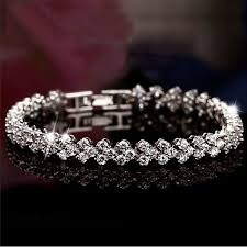 sterling silver bracelet with diamond images Buy 2017 fashion luxury full crystal rome silver jpg
