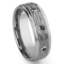 mens black diamond wedding bands tungsten carbide black diamond hammer finish wedding band ring