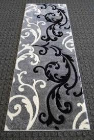 modern area runner rug black white circle design 2x7 286