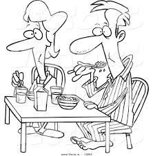 vector of a cartoon couple eating breakfast together coloring