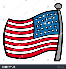 A American Flag Pictures Cartoon Outline Vector Illustration American Flag Stock