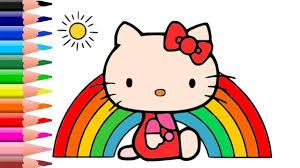 draw color kitty rainbow cute cloud rainbow