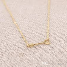 necklace with simple pendant images Wholesale n010 gold silver tiny horizontal arrow necklace pendant jpg
