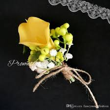 corsage pins yellow calla wedding brooch pins artificial flowers corsage