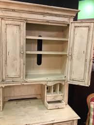 distressed cream colored hooker desk with hutch invio fine