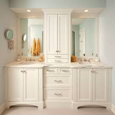 Bathroom Cabinet With Built In Laundry Hamper Tremendous Built In Bathroom Vanities And Cabinets Vanity White