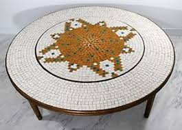 lazy susan coffee table mid century modern round mosaic tile coffee table lazy susan bamboo
