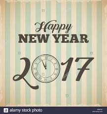 happy new year 2017 card with decorative clock icon colorful