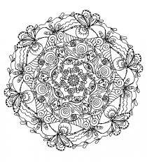 free coloring coloring mandala difficult 5 plants