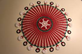 handmade crochet christmas tablecloth with santa claus and