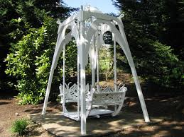 decor white metal glider swing with 4 seat for comfortable