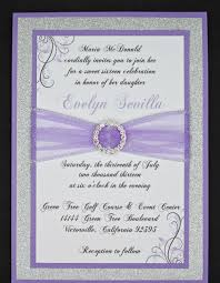 lilac and silver glitter quinceanera or wedding invitation full of