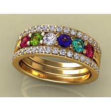 cheap mothers rings 6 birthstones mothers ring flanked with diamond