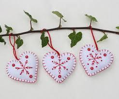 felt ornaments handmade and white