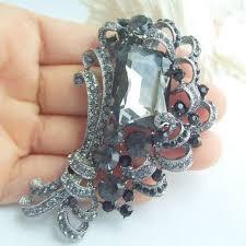 wedding bouquet black gray flower rhinestone crystal brooch