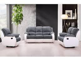 canape gris et blanc canapé et fauteuil relax en microfibre 3 coloris bilston