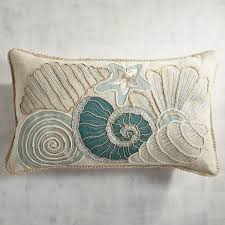 Seashore Decorative Pillows Seashore Seashells Lumbar Pillow Everything Turquoise