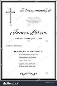 funeral template card simple cross black stock vector 688163008