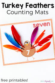 turkey feathers counting mats thanksgiving math math activities