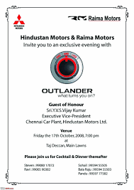 Invitation Card Format For Farewell To Seniors Mitsubishi Outlander Launch Invite For Chn Bhpians Edit Now Hyd