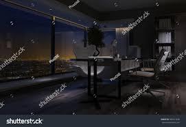 empty dimly lit interior home office stock illustration 365611238