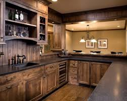 rustic wood kitchen cabinets maybe extend the sides to the counter top rustic