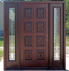 Patio Doors With Venting Sidelites by Exterior Hand Carved Doors With Wrought Iron Sidelights