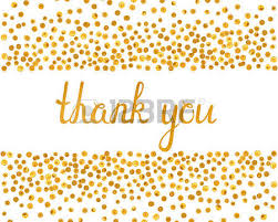 thank you inscription with falling golden dots on white background