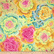 blue home decor fabric kaffe fassett brassica yellow discount designer fabric fabric com