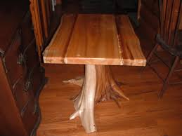 Cedar Table Top by Cedar Stump End Table