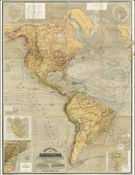Maps South America by Magnificent Thematic Map Of North And South America Rare
