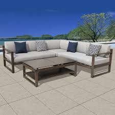 Outdoor Sofa Sectional Set Ove Decors Melia 4 Piece Aluminum Outdoor Sectional Set With Grey
