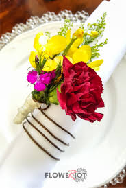 riot of colours tablescape decor floral napkin ring with bold