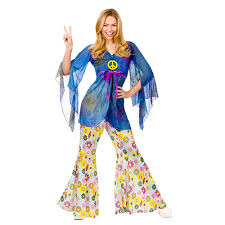 ladies womens hippie hippy fancy dress costume 60s 70s groovy
