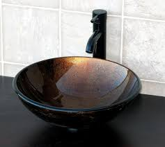 Bronze Faucets Bathroom Sink Elimax U0027s Ch9052 Artistic Round Combo Glass Vessel Sink With Oil